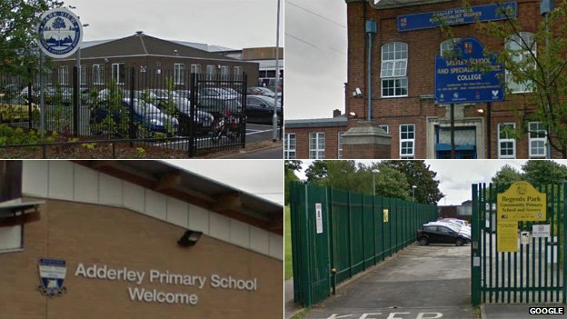 Park View Academy, Saltley School, Regents Park Community Primary and Adderley Primary School (clockwise from top left)