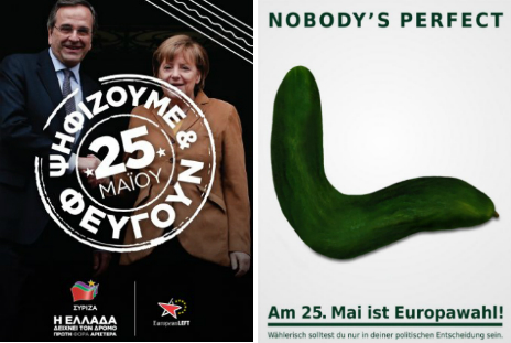 Syriza election poster and EU/German election poster