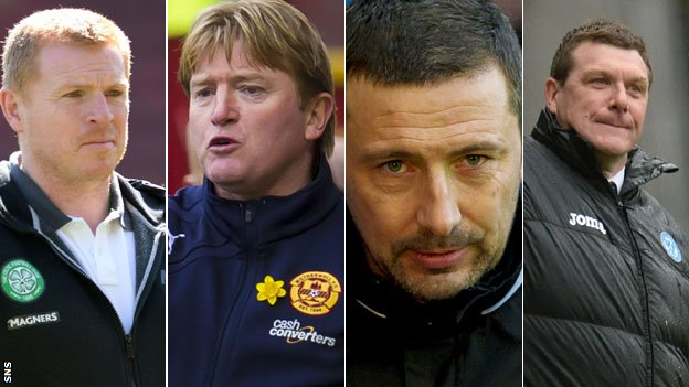 From left: Neil Lennon, Stuart McCall, Derek Mcinnes and Tommy Wright