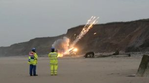 Ammunition blown up on the East Yorkshire coast