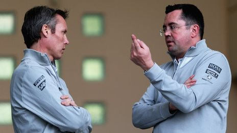 McLaren Sporting Director Sam Michael and McLaren Racing Director Eric Boullier talk during day three of Formula One Winter Testing at the Bahrain International