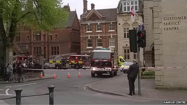 The scene near the former town hall in Bedford