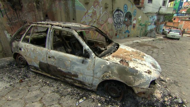 A burnt out car