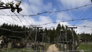 A reconstruction of the Iron Curtain's electrified fence in the Sumava National Park, Czech Republic - 8 April 2014