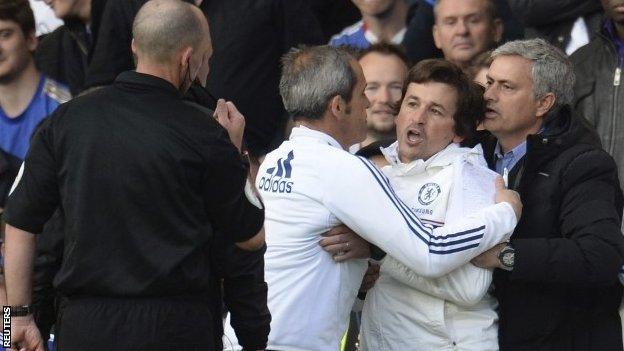 Jose Mourinho restrains assistant Rui Faria