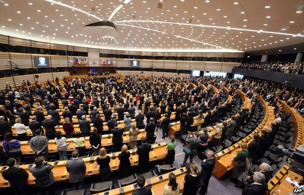 The European Parliament in Brussels, 14 April
