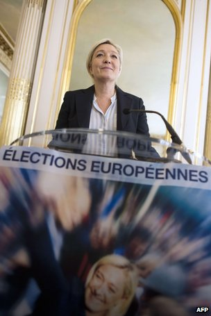 Marine Le Pen speaking to reporters, 22 April