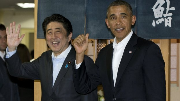 Japanese PM Shinzo Abe and President Barack Obama (23 April 2014)