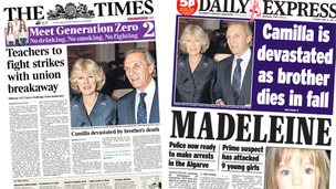 Composite image of the front pages of the Times and Daily Express on 24/04/14
