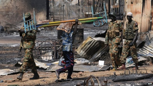 Soldiers among burned-out items in Bentui