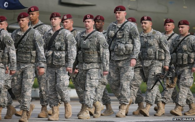 US paratroopers arrive in Swidwin, Poland for exercises, 23 April