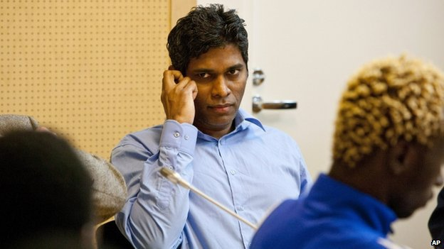 A file photo taken on 22 June, 2011 shows Singaporean, Wilson Raj Perumal, sitting in the Lapland district court in Rovaniemi, Finland