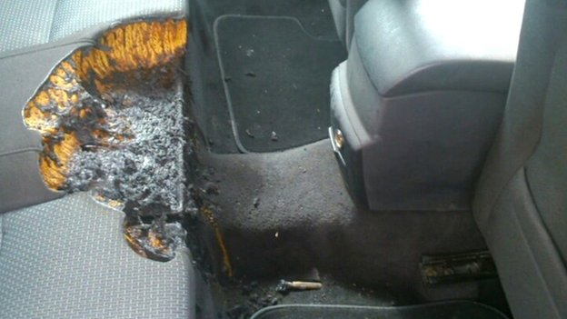 Burnt car seat