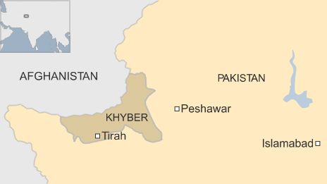 Map of Pakistan showing the Khyber region