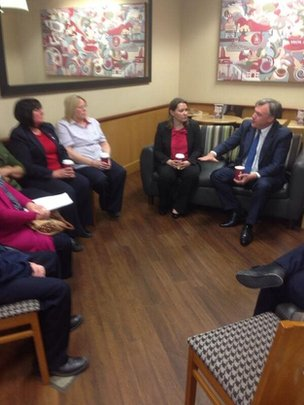 Ed Balls meeting supermarket staff
