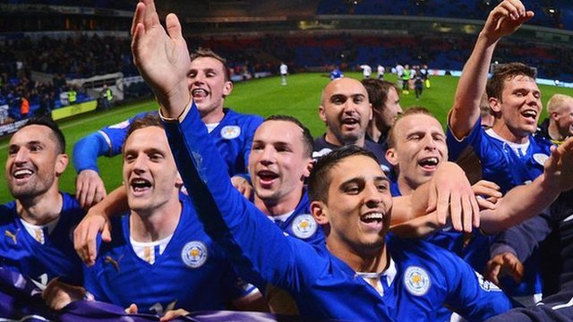 Leicester City player celebrate Championship title