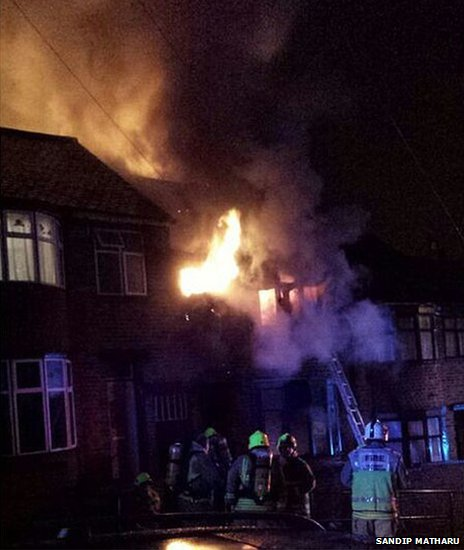 Photo of the fire taken by resident Sandip Matharu