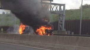 Lorry on fire M25