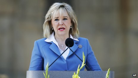 Oklahoma Governor Mary Fallin appeared in Oklahoma City on 19 April 2014