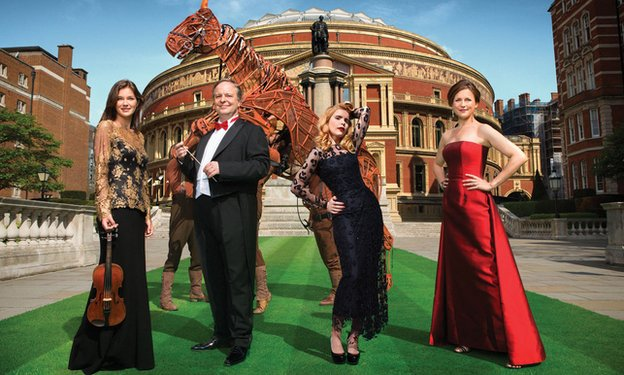 (L-R) Janine Jansen, Sakari Oramo, Paloma Faith, Katie Derham and Joey from War Horse celebrate the launch of the 2014 BBC Proms