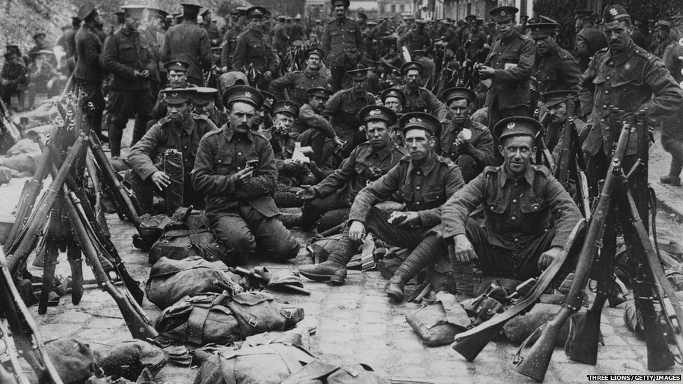 British soldiers newly arrived in France in 1914