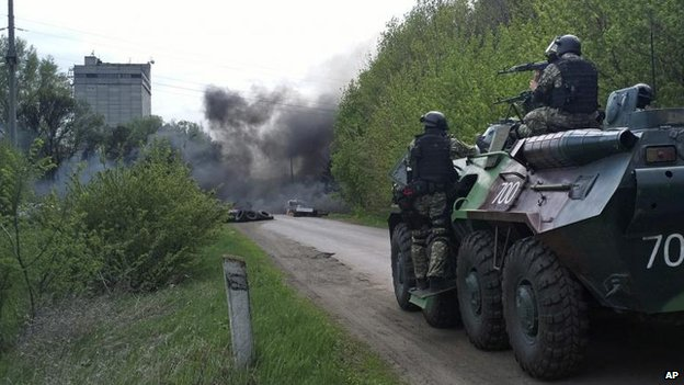 Ukrainian troops around Sloviansk, 24 April