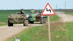 Ukrainian armoured personnel carriers near Sloviansk (24 April 2014)