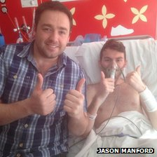 Jason Manford with Stephen Sutton