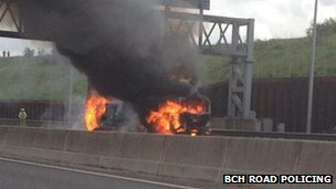 Lorry on fire on M25