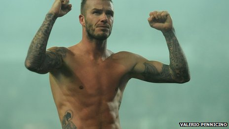 David Beckham shirtless