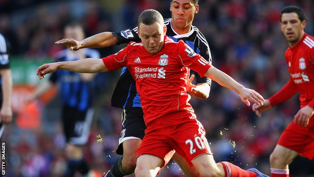 Jay Spearing in action for Liverpool