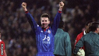Neil Adams celebrates Oldham's victory over Manchester United in 1993