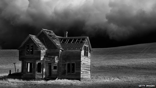 Abandoned house and stormy weather