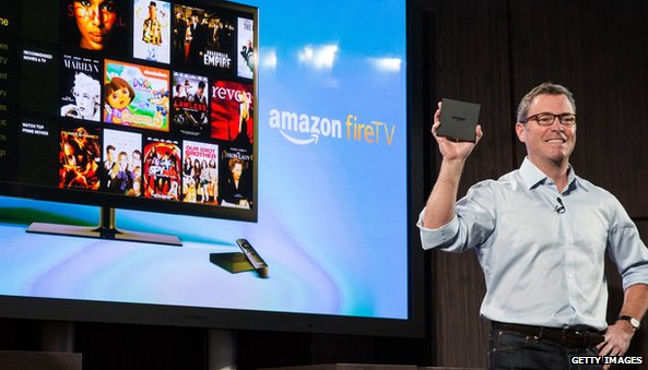 Amazon TV screen with man holding device