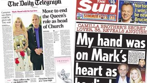 Composite image of the front page of the Daily Telegraph and the Sun on 25/04/14