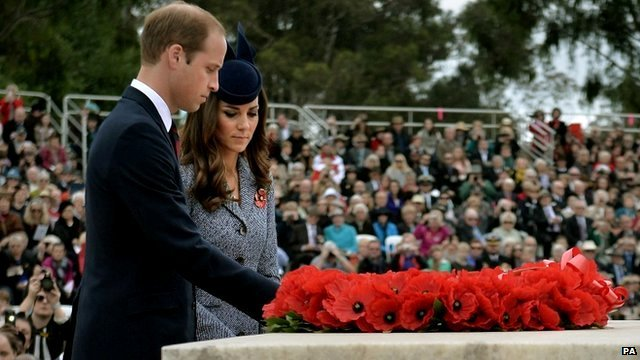 Duke and Duchess of Cambridge lay wreath at Anzac Day service