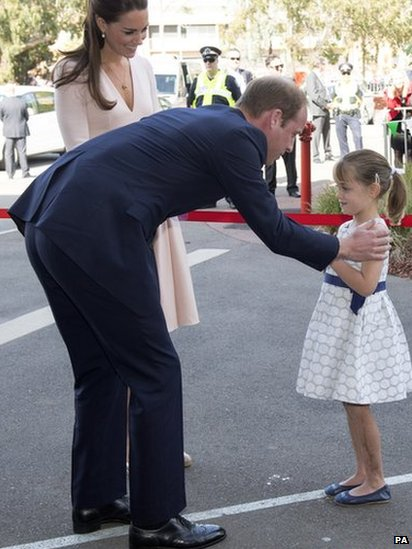 The Duke and Duchess of Cambridge met Lauren Stepherson, aged six, in Adelaide