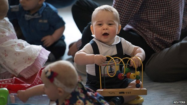Prince George plays during a playgroup in Wellington, New Zealand