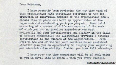Welchman letter