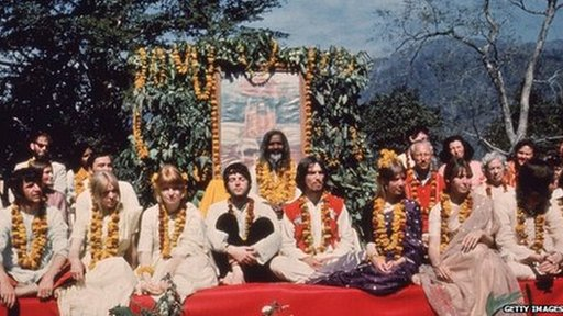 The Beatles in India in with the Maharishi Mahesh Yogi, 1968
