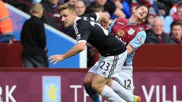 "Southampton's Luke Shaw (left) and Aston Villa""s Marc Albrighton"