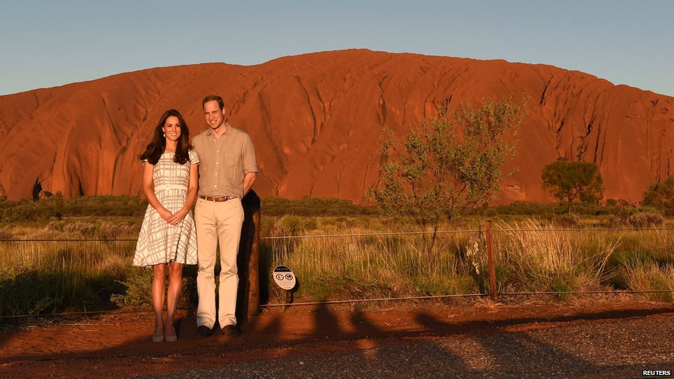 The Duke and Duchess at Uluru rock formation in the Northern Territory.