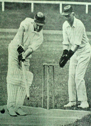 German newspaper photo of English touring cricketers