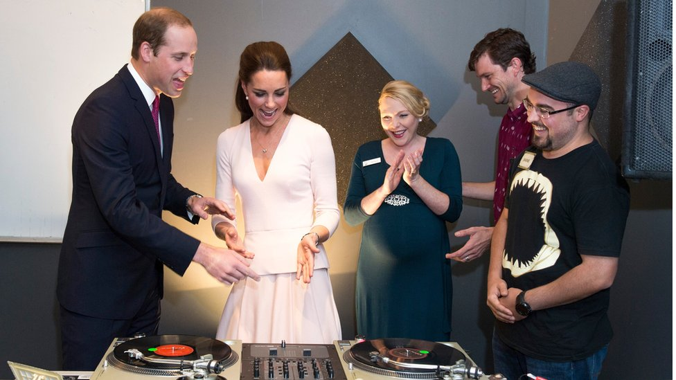The couple tried their hand as a DJ during a visit to Adelaide on Wednesday.