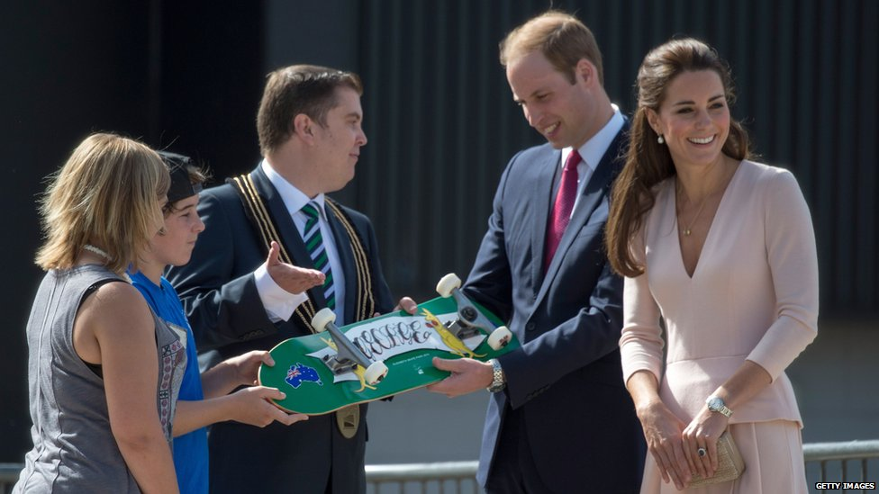 On a visit to a skate park in Elizabeth, the couple were given a skateboard for Prince George, with his name written on the base.