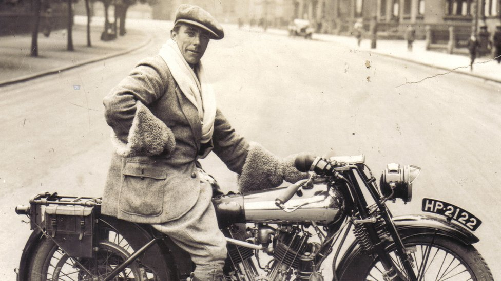George Brough on one his Brough Superior bikes