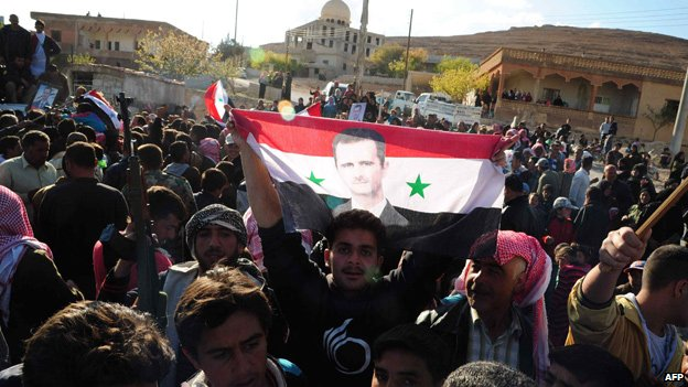 Supporters of President Assad in the village of Jobar, near Damascus