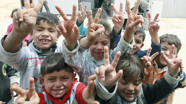 Syrian children in a refugee camp at Zaatari in northern Jordan