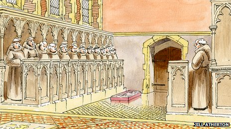 Artist's reconstruction of Richard's tomb in Greyfriars