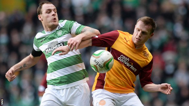 Steven Hammell challenges Celtic's Anthony Stokes